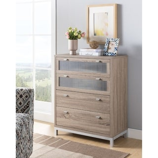 Wooden Four Drawers Utility Chest with Metal Handles, Light Brown and Silver