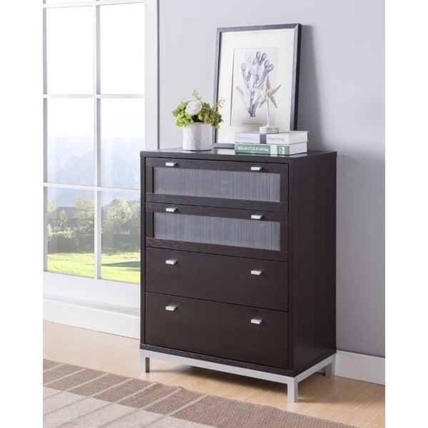 Four Drawers Wooden Utility Chest with Metal Base, Brown and Silver