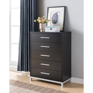 Five Drawers Wooden Chest with Metal Bar Handles, Brown and Silver