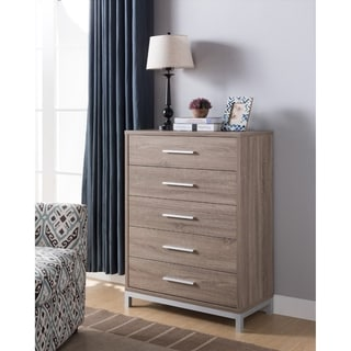 Five Drawers Wooden Chest with Metal Bar Handles, Light Brown and Silver