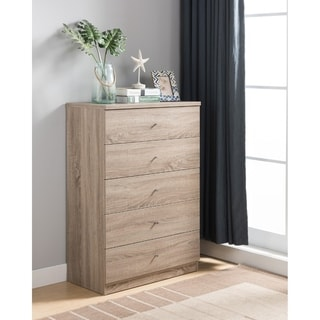 Transitional Five Drawers Wooden Utility Chest with Metal Knobs, Light Brown