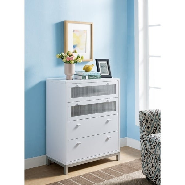 Four Drawers Wooden Utility Chest with Metal Base, White