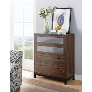 Wooden Four Drawers Utility Chest with Metal Base, Brown and Black