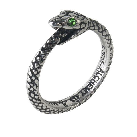 Alchemy Gothic Ancient Symbol Of Eternity The Sophia Serpent Ring with Crystals - Size T/9.5