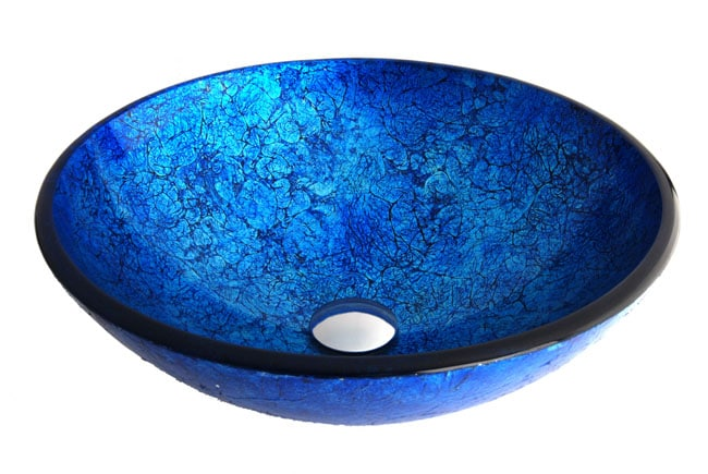 Fontaine Ocean Foil Glass Vessel Bathroom Sink - Thumbnail 1