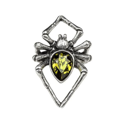 Alchemy Gothic Monsterous Polished Giant Spider Emerald Venom Ring with Green Crystal - Size L/6