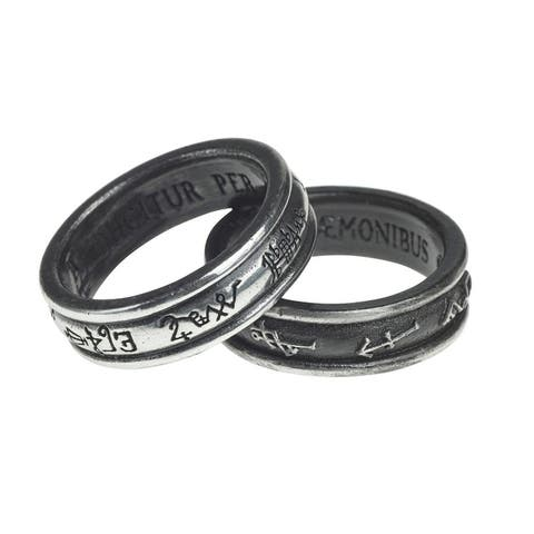 Alchemy Gothic Traditional Archangels Couple Demon Black and Angel White Ring - Size W/11