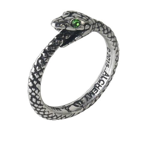 Alchemy Gothic Ancient Symbol Of Eternity The Sophia Serpent Ring with Crystals - Size Y/12