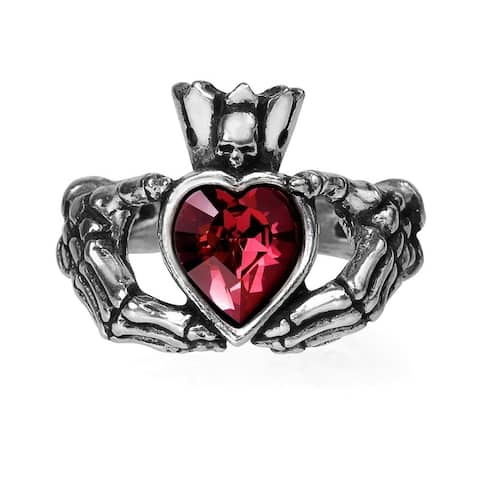 Alchemy Gothic Ancient Irish Traditional Claddagh By Night Ring with Heart Crystal - Size T/9.5