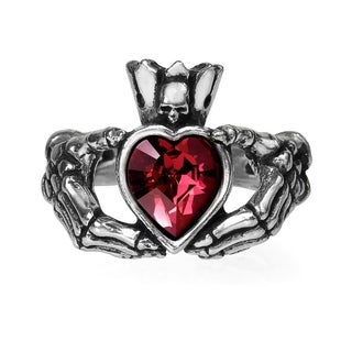 Alchemy Gothic Ancient Irish Traditional Claddagh By Night Ring with Heart Crystal - Size L/6