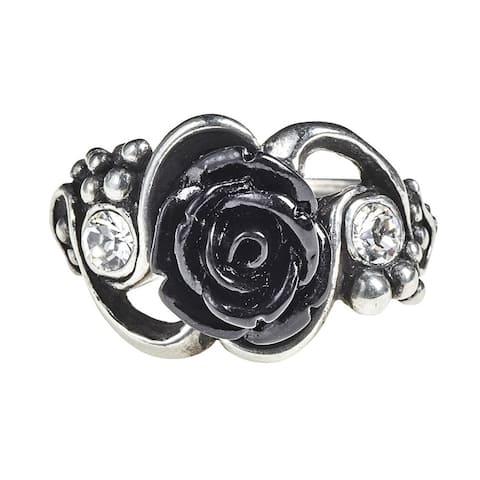 Alchemy Gothic Romantic Dark Desire Clear Crystal Bacchanal Rose Ring - Size N/7
