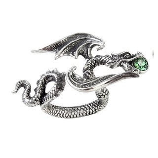 Alchemy Gothic Gliding Dragon Starchaser Ring with Crystal - Size L/N, 6/7