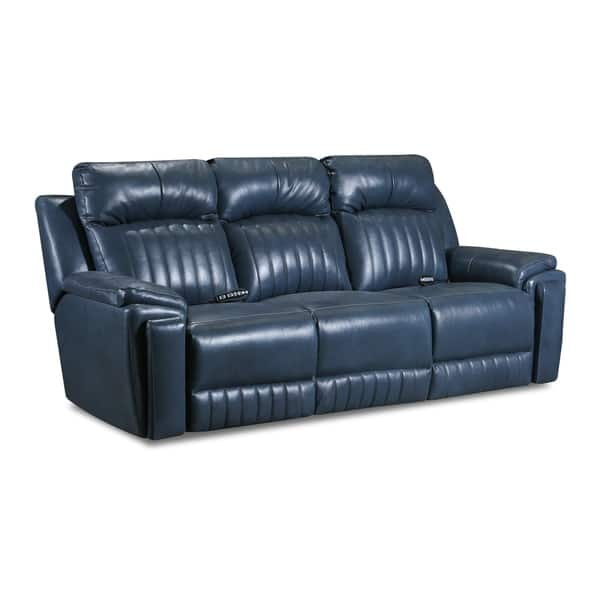 Shop Copper Grove Miramas Blue Leather Reclining Sofa with ...