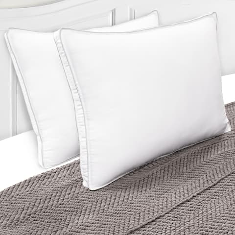 Miranda Haus Harvey Hypoallergenic Microfiber Gusset Pillow (Set of 2) - White