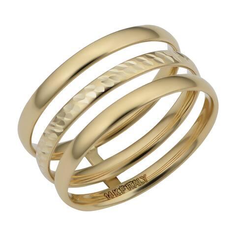 14k Yellow Gold Polished/Diamond Cut Triple Band Ring