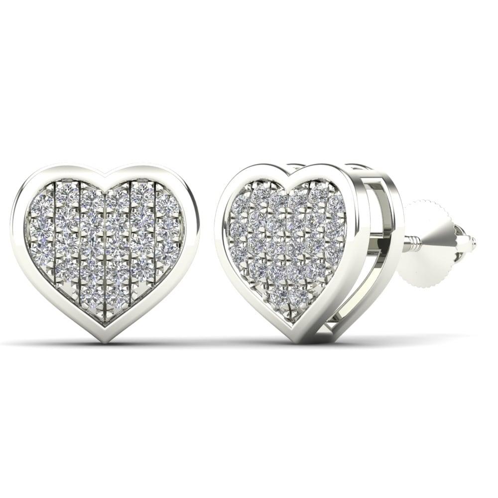 396e6f9d0c0 AALILLY 14k White Gold 1/8ct TDW Diamond Heart Stud Earrings (H-I, I1-I2)