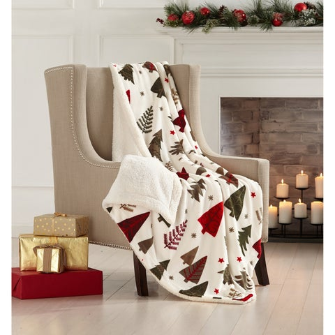 Super Soft Holiday Printed Sherpa Reversible Luxury Throw Blanket