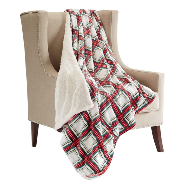 85be8051a8 Shop Luxury Holiday Plaid Sherpa Reversible Throw Blanket - Free ...