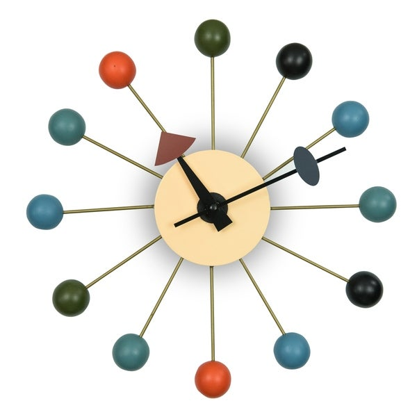 LeisureMod Modern Round Colorful Balls Silent Non-Ticking Wall Clock