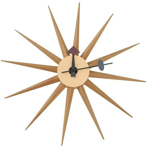 LeisureMod Maxi Star Sunburst Silent Non-Ticking Wall Clock