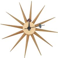 LeisureMod Maxi Star Sunburst Silent Non-Ticking Wall Clock - N/A