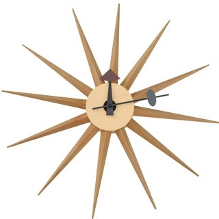 LeisureMod Maxi Colorful Star Sunburst Silent Non-Ticking Wall Clock