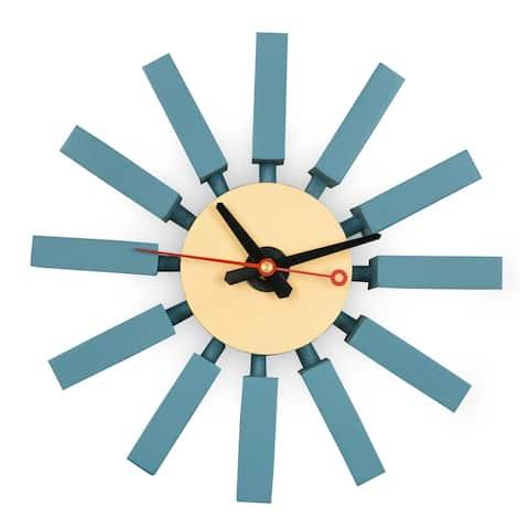 LeisureMod Vdara Modern Design Block Silent Non-Ticking Wall Clock