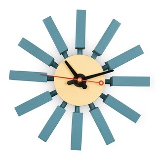LeisureMod Vdara Modern Design Block Silent Non-Ticking Wall Clock