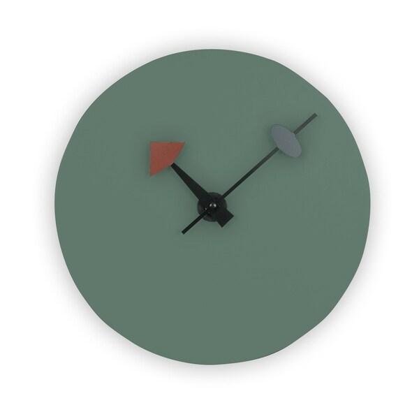 LeisureMod Manchester Ocean Green Round Silent Non-Ticking Wall Clock
