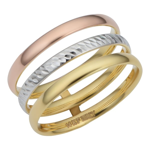 14k Tricolor Gold Polished/Diamond Cut Triple Band Ring. Opens flyout.