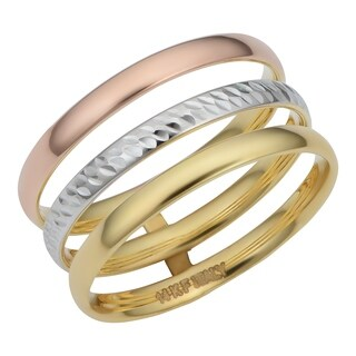14k Tricolor Gold Polished/Diamond Cut Triple Band Ring