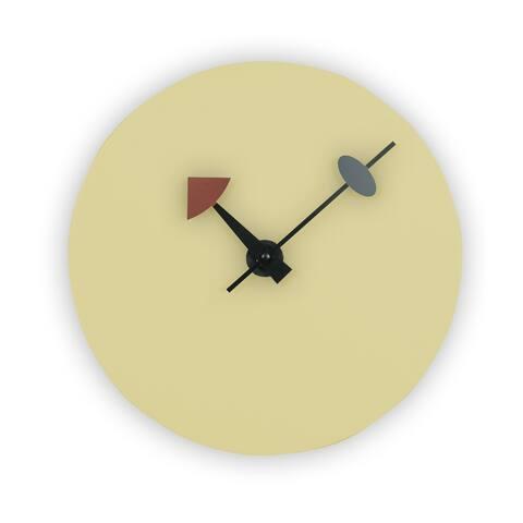 LeisureMod Manchester Modern Cream Round Silent Non-Ticking Wall Clock