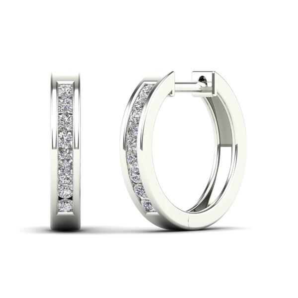 AALILLY 14k White Gold 1/4ct TDW Diamond Round Hoop Earrings (H-I, I1-I2)