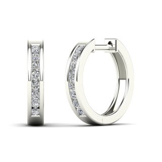 AALILLY 14k White Gold 1/4ct TDW Diamond Round Hoop Earrings (H-I, I1-I2)