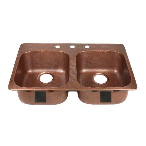 Sinkology Santi Drop-In Handmade Pure Solid Copper 33 in. 3-Hole Double Bowl Copper Kitchen Sink Kit in Antique Copper