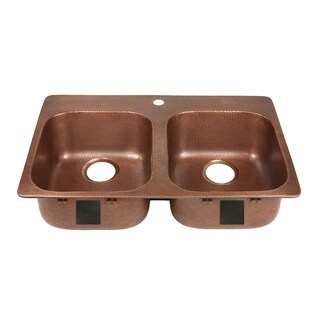 Sinkology Santi Drop-In Handmade Pure Solid Copper 33 in. 1-Hole Double Bowl Copper Kitchen Sink Kit in Antique Copper
