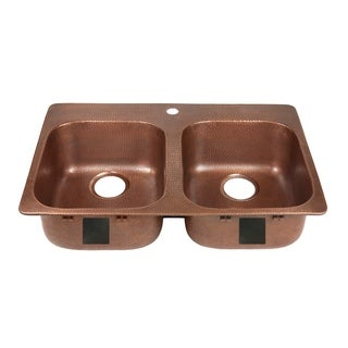 Link to Sinkology Santi Drop-In Handmade Pure Solid Copper 33 in. 1-Hole Double Bowl Copper Kitchen Sink Kit in Antique Copper Similar Items in Sinks