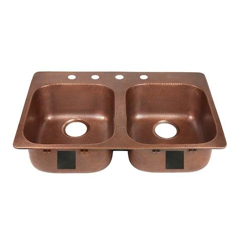 Sinkology Santi Drop-In Handmade Pure Solid Copper 33 in. 4-Hole Left Side Double Bowl Copper Kitchen Sink Kit in Antique Copper