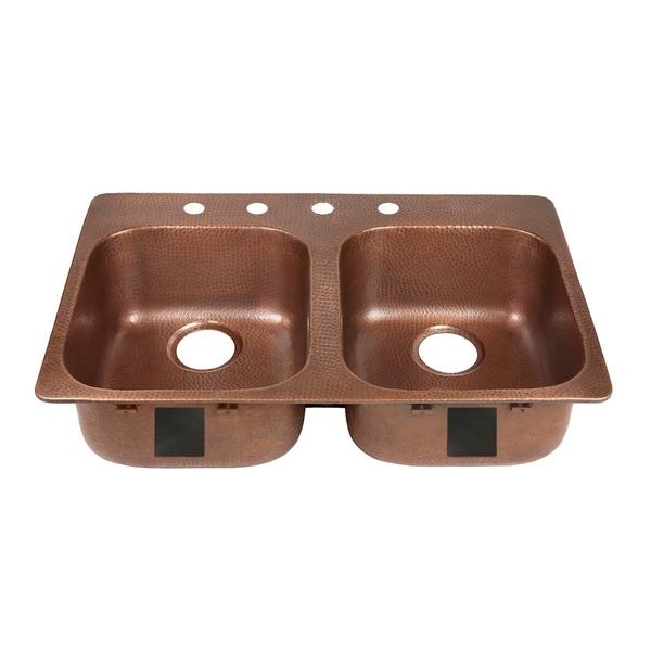 Sinkology Santi Drop-In Handmade Pure Solid Copper 33 in. 4-Hole Left Side Double Bowl Copper Kitchen Sink Kit in Antique Copper. Opens flyout.
