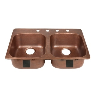 "Sinkology Santi Drop-In Handmade Pure Solid Copper 33"" 4-Hole Right Side Double Bowl Copper Kitchen Sink Kit in Antique Copper"