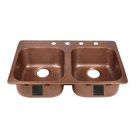 """Sinkology Santi Drop-In Handmade Pure Solid Copper 33"""" 4-Hole Right Side Double Bowl Copper Kitchen Sink Kit in Antique Copper"""