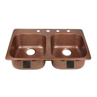 """Link to Sinkology Santi Drop-In Handmade Pure Solid Copper 33"""" 4-Hole Right Side Double Bowl Copper Kitchen Sink Kit in Antique Copper Similar Items in Sinks"""