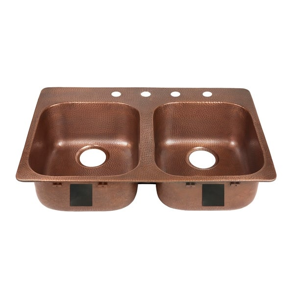 """Sinkology Santi Drop-In Handmade Pure Solid Copper 33"""" 4-Hole Right Side Double Bowl Copper Kitchen Sink Kit in Antique Copper. Opens flyout."""