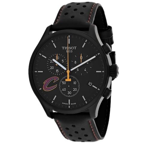Tissot Men's T1166173605101 'XL NBA Cleveland' Chronograph Black Leather Watch
