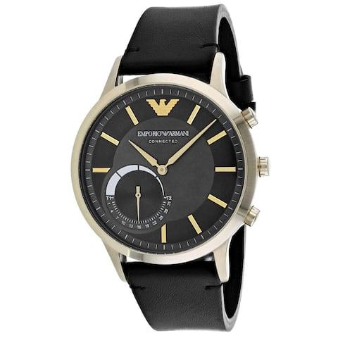 Emporio Armani Men's ART3006 'Connected' Black Leather Watch