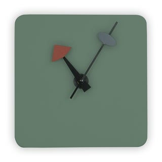 LeisureMod Manchester Ocean Green Square Silent Non-Ticking Wall Clock