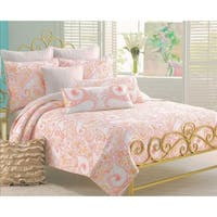 Cozy Line Blow Floral 3-piece Cotton Quilt Set - Coral/Orange/White