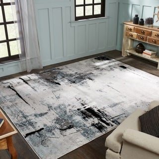 Strick & Bolton Intveld Grey/ White Area Rug