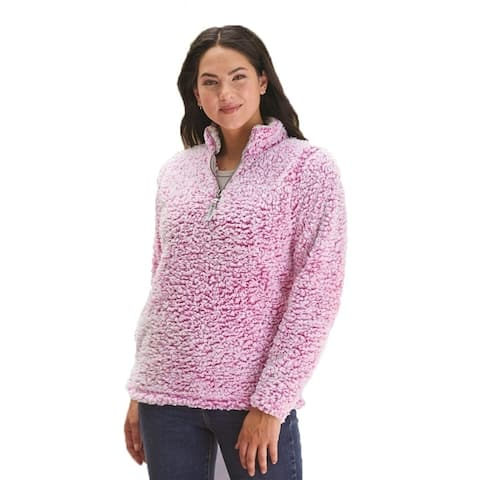 J. America Women's Quarter-Zip Pullover, magenta heather