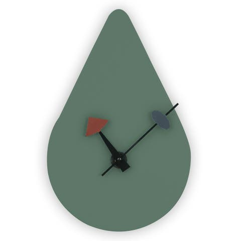 LeisureMod Ocean Green raindrop Silent Non-Ticking Wall Clock